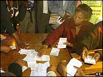 Zimbabwe's electoral officials count ballot papers