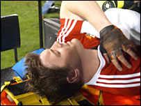 Brian O'Driscoll is stretchered off during the first 2005 Lions Test against New Zealand