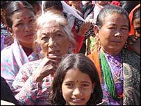 Women in the Charikot crowd