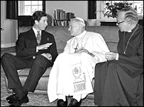 Prince Charles, the Pope and the Archbishop of Canterbury in 1982