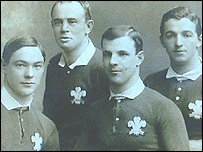 From left, J F Williams, A F Harding, Willie Llewellyn and E T Morgan. The four Christ College old boys played for Wales against New Zealand in 1905 -  picture courtesy of Dr J M L Jones