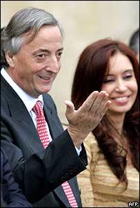 Argentine President Nestor Kirchner and his wife Cristina