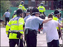 Cardiff and Millwall fans clash in Cardiff in 1999