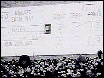 The final score in Wales match against the All Blacks, 9 December 1953