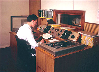 Photo of an engineer in an RNIB recording studio