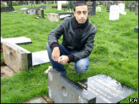 Niaz Petkar with family graves that were knocked over