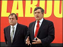 Gordon Brown and John Prescott at a poster launch