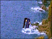 The Newsnight van in the sea