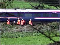 The derailed train
