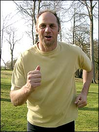Sir Steve Redgrave in training for the London Marathon
