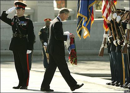 Prince Charles lays wreath