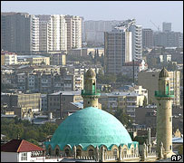 Baku skyline, mosque in foreground