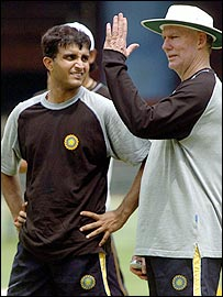 Former India captain Sourav Ganguly with coach Greg Chappell