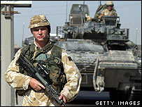 British soldier patrols Basra