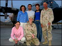 Members of the team at the US airbase