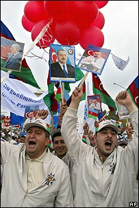 Pro-government demonstration with posters of Azerbaijani President Ilham Aliyev