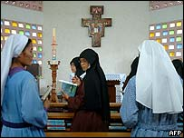 Indonesian nuns pray for the Pope on Saturday