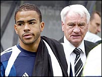 Newcastle midfielder Kieron Dyer (left) with former manager Sir Bobby Robson
