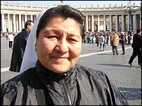 Sister Eva Hermana in St Peter's Square at the Vatican