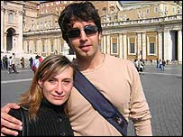 Students Emanuela Tinca and Emanuele Imondi in St Peter's Square at the Vatican