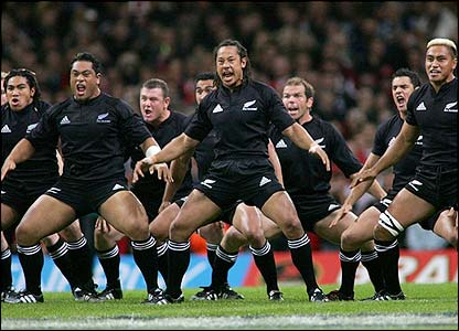 Tana Umaga, the captain of New Zealand leads the Haka before the start of the match