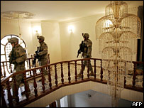 US soldiers in a civilian house