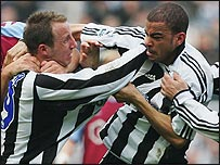 Newcastle duo Lee Bowyer (left) and Kieron Dyer exchange blows