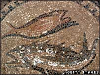 A mosaic depicting two fish, an ancient Christian symbol