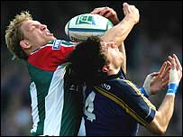 Lewis Moody and Shane Horgan challenge for possession