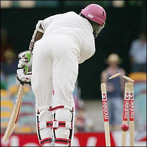West Indian batsman Fidel Edwards is clean bowled for a golden duck by Australian paceman Nathan Bracken