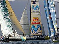 Team ABN AMRO (left), Spain's Movistar (centre) and Brasil 1