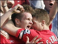 Igor Biscan (left) celebrates scoring with Steven Gerrard