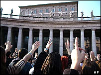 Pilgrims in St Peter's Square at the Vatican
