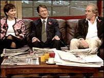 Sarah Sands, PJ O'Rourke and Gerald Scarfe