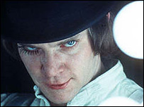 Malcolm McDowell in a scene from Clockwork Orange