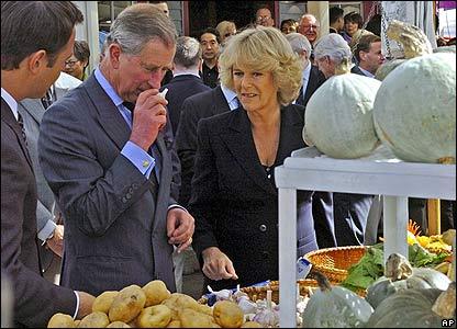 Charles sniffs garlic