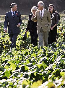 Charles talking to farmer