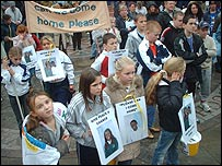 Children join rally protesting at Sarah Hata's deportation