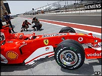 Michael Schumacher leaves the pits in the new Ferrari