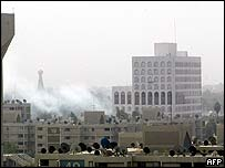 Smoke rises after explosion in Baghdad on 3 April