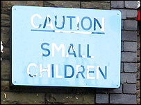 Caution sign at Abercynon Infants School