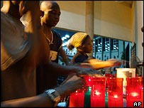 Nigerian Catholics light candles to commemorate Pope in Lagos, Nigeria
