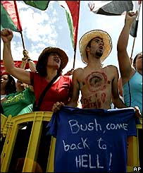 Anti-Bush protesters in Brasilia