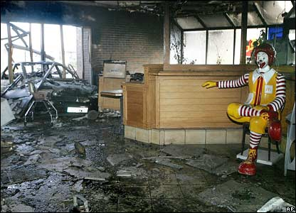 A destroyed McDonald fast food restaurant in Corbeil-Essonnes