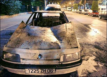 A burned car in Nice