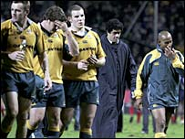 A dejected Wallabies side after the defeat to France in Marseille. Gregan is on the far right.
