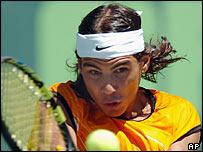 Rafael Nadal in action in Miami