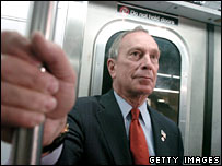 Michael Bloomberg travelling on the New York subway