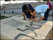 Police clean defaced grave of Israeli PM David Ben Gurion