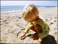 A child on a beach
